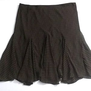 Ralph Lauren Brown/Black Midi Lined Skirt - XL